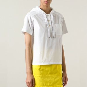 Marc Jacobs MBMJ Hooded White Cotton Popover Top